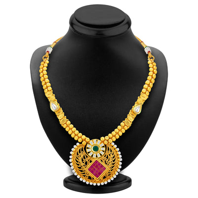 Sukkhi Elegant Invisible Setting Gold Plated American Diamond Necklace Set For Women-3