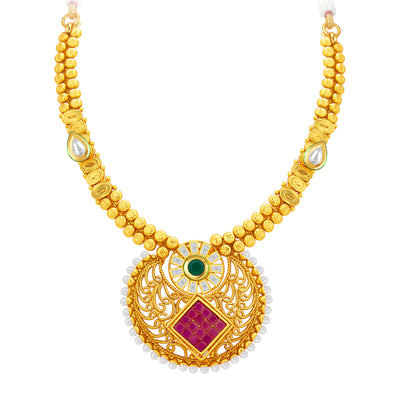 Sukkhi Elegant Invisible Setting Gold Plated American Diamond Necklace Set For Women-2