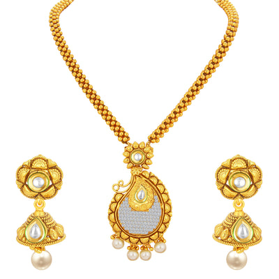 Sukkhi Classy Invisible Setting Gold Plated American Diamond Necklace Set For Women