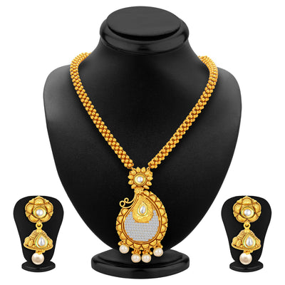 Sukkhi Classy Invisible Setting Gold Plated American Diamond Necklace Set For Women-1