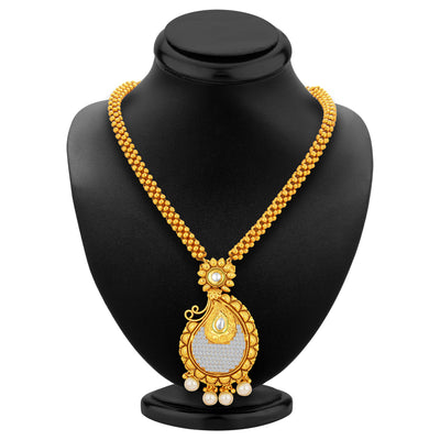 Sukkhi Classy Invisible Setting Gold Plated American Diamond Necklace Set For Women-3