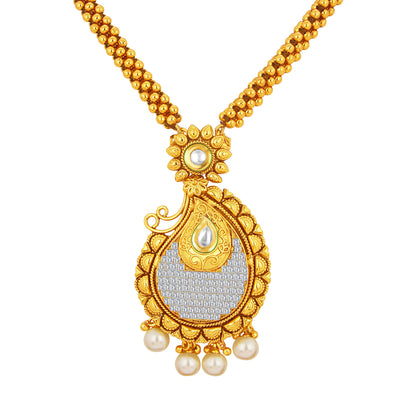 Sukkhi Classy Invisible Setting Gold Plated American Diamond Necklace Set For Women-2