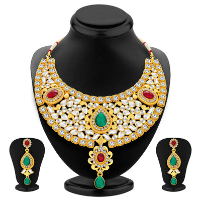 Sukkhi Classic Gold Plated Kundan Necklace Set For Women