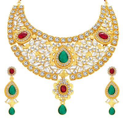 Sukkhi Classic Gold Plated Kundan Necklace Set For Women-1