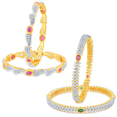 Sukkhi Stunning Gold Plated CZ Set of 2 Pair Bangle Combo For Women