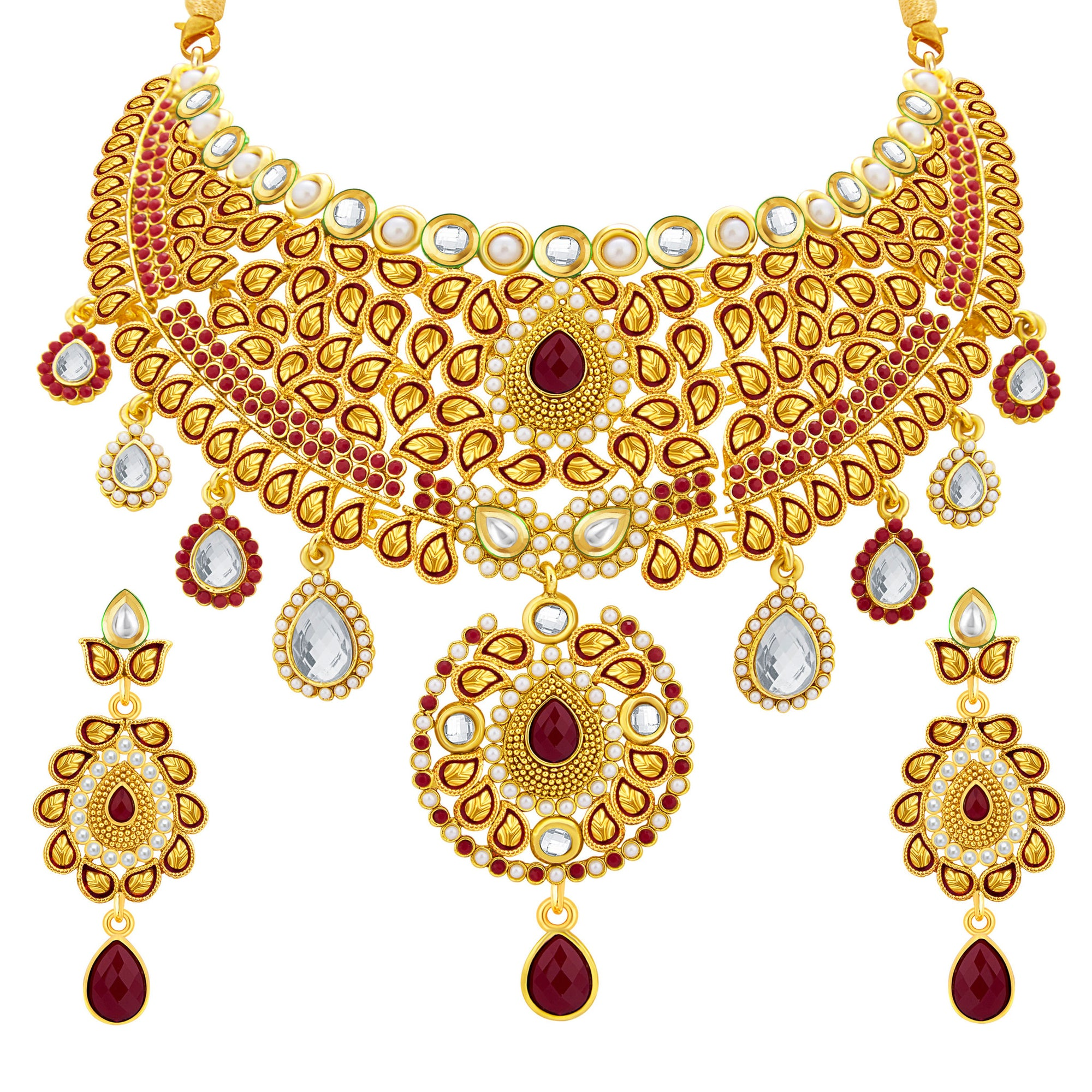 54838f013 Sukkhi Fancy Gold Plated AD Necklace Set For Women - Sukkhi.com