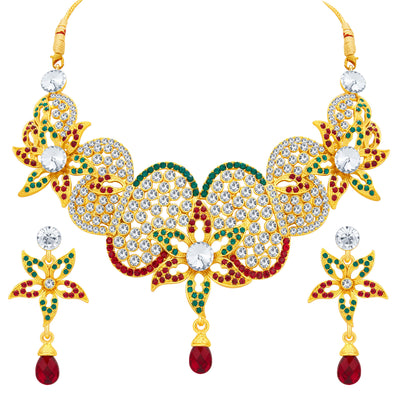 Sukkhi Glorious Gold Plated AD Necklace Set For Women-1