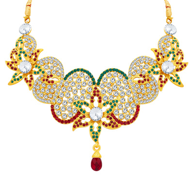 Sukkhi Glorious Gold Plated AD Necklace Set For Women-3
