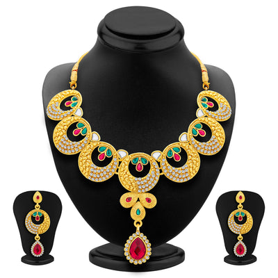 Sukkhi Astonishing Gold Plated AD Necklace Set For Women
