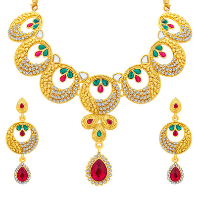 Sukkhi Astonishing Gold Plated AD Necklace Set For Women-1
