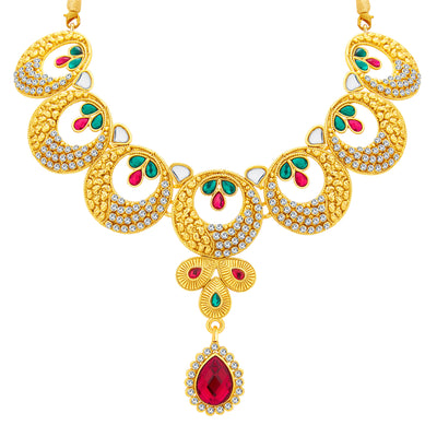 Sukkhi Astonishing Gold Plated AD Necklace Set For Women-3