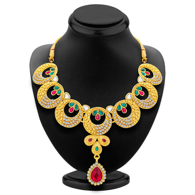 Sukkhi Astonishing Gold Plated AD Necklace Set For Women-2