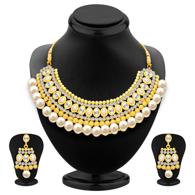 Sukkhi Divine Gold Plated AD Necklace Set For Women