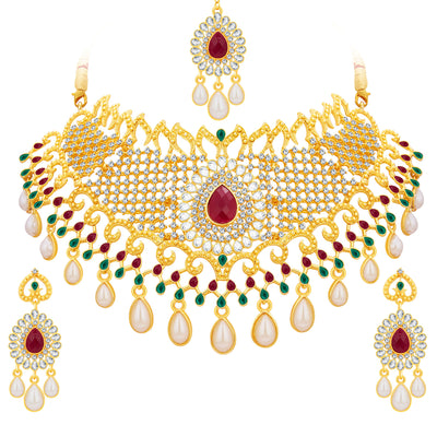 Sukkhi Fancy Gold Plated AD Necklace Set For Women-1