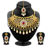 Sukkhi Fancy Gold Plated AD Necklace Set For Women