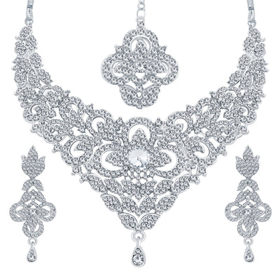 Sukkhi Intricately Rhodium Plated AD Necklace Set For Women-1