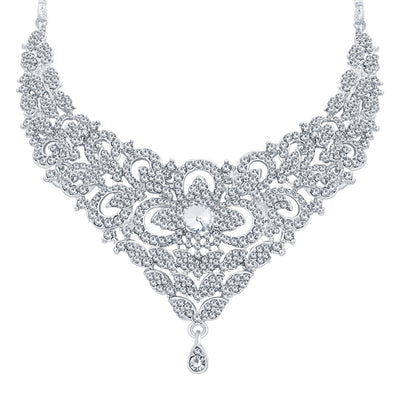 Sukkhi Intricately Rhodium Plated AD Necklace Set For Women-3