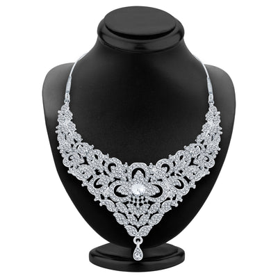 Sukkhi Intricately Rhodium Plated AD Necklace Set For Women-2