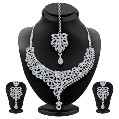 Sukkhi Exquitely Rhodium Plated AD Necklace Set For Women