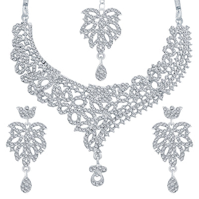 Sukkhi Exquitely Rhodium Plated AD Necklace Set For Women-1