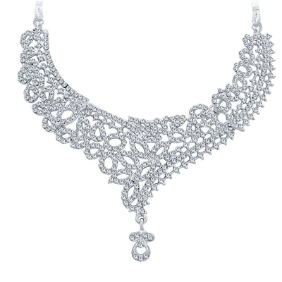 Sukkhi Exquitely Rhodium Plated AD Necklace Set For Women-3