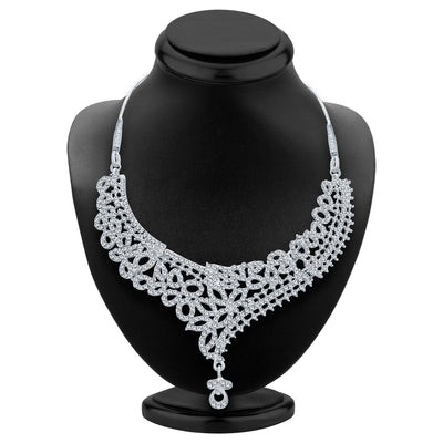 Sukkhi Exquitely Rhodium Plated AD Necklace Set For Women-2