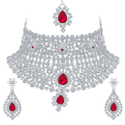 Sukkhi Classic Rhodium Plated AD Necklace Set For Women-1