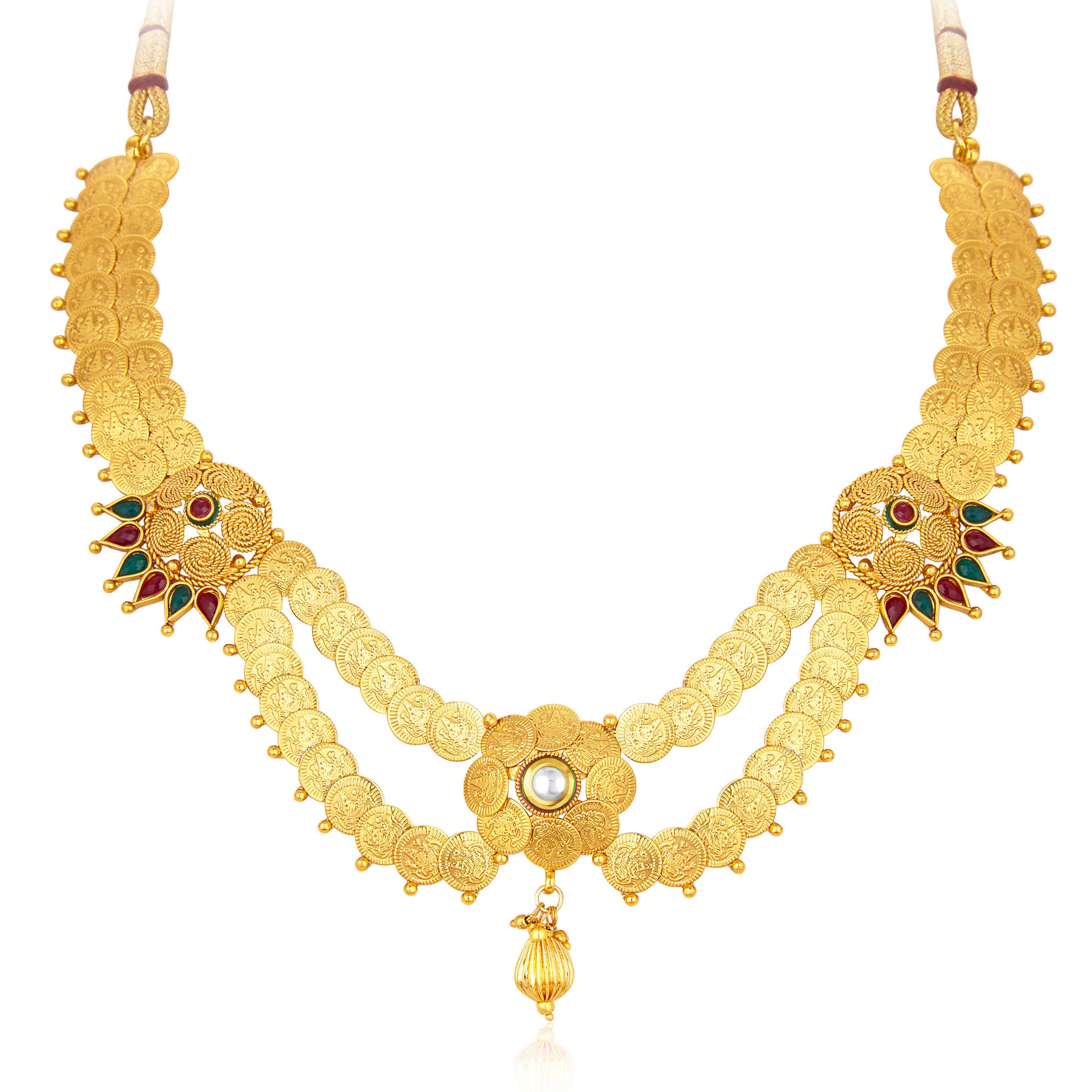 dd37476570d91 Sukkhi Beguiling Laxmiji Coin Temple Jewellery Gold Plated Necklace ...