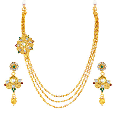 Sukkhi Intricately Three String Jalebi Gold Plated Necklace Set For Women