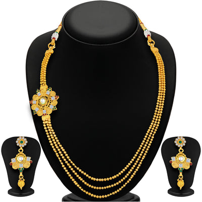 Sukkhi Intricately Three String Jalebi Gold Plated Necklace Set For Women-1