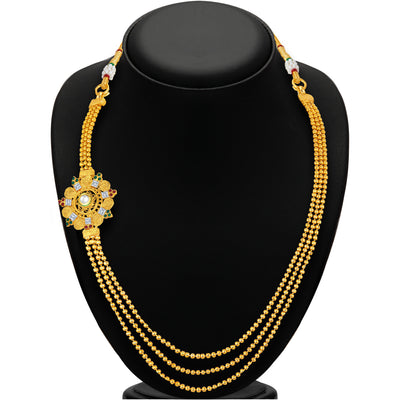 Sukkhi Intricately Three String Jalebi Gold Plated Necklace Set For Women-3