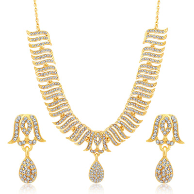 Sukkhi Ethnic Gold Plated Set Of 2 AD Necklace Set Combo For Women-5