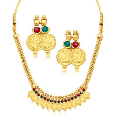 Sukkhi Stylish Laxmi Coin Temple Gold Plated Necklace Set For Women