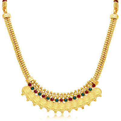 Sukkhi Stylish Laxmi Coin Temple Gold Plated Necklace Set For Women-1
