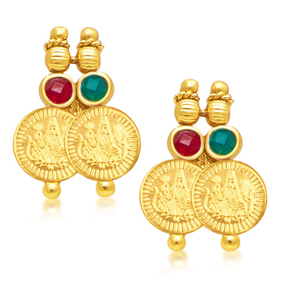 Sukkhi Stylish Laxmi Coin Temple Gold Plated Necklace Set For Women-2