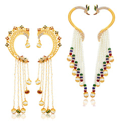 Sukkhi Blossomy Peacock Gold Plated AD Set of 2 Pair Earring Combo For Women
