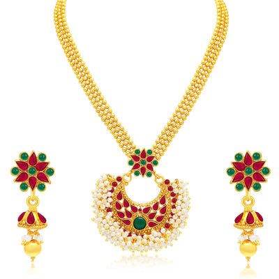 Sukkhi Gleaming Gold Plated Set of 2 Necklace Set Combo For Women-1
