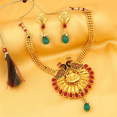 0010 Sukkhi Attractive Laxmi Temple Peacock Gold Plated Necklace Set For Women