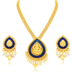 Sukkhi Trendy Laxmi Temple Gold Plated Necklace Set For Women
