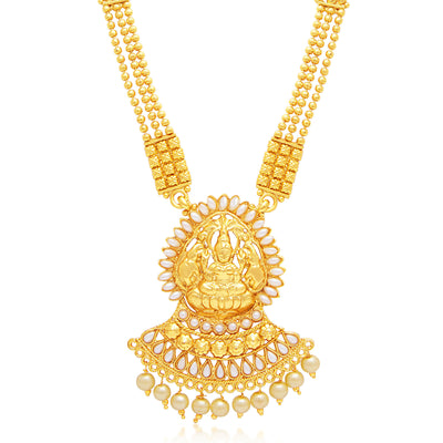Sukkhi Marquise Laxmi Temple Gold Plated Necklace Set For Women-1