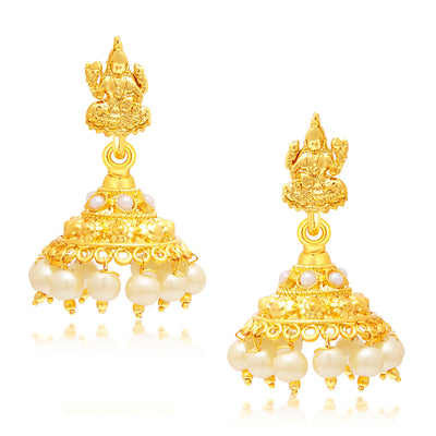 Sukkhi Marquise Laxmi Temple Gold Plated Necklace Set For Women-2