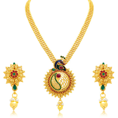 Sukkhi Exquisite Peacock Gold Plated Necklace Set For Women