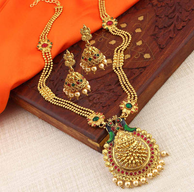 Sukkhi Designer Laxmi Temple Peacock Gold Plated Necklace Set For Women