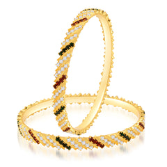Sukkhi Marvelous Gold Plated Australian Diamond Stone Studded Bangles