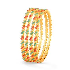 Sukkhi Marvellous Gold Plated Set OF 4 Coral Bangle