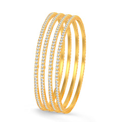 Sukkhi Classy Gold Plated Set OF 4 Australian Diamond Single Line Bangle