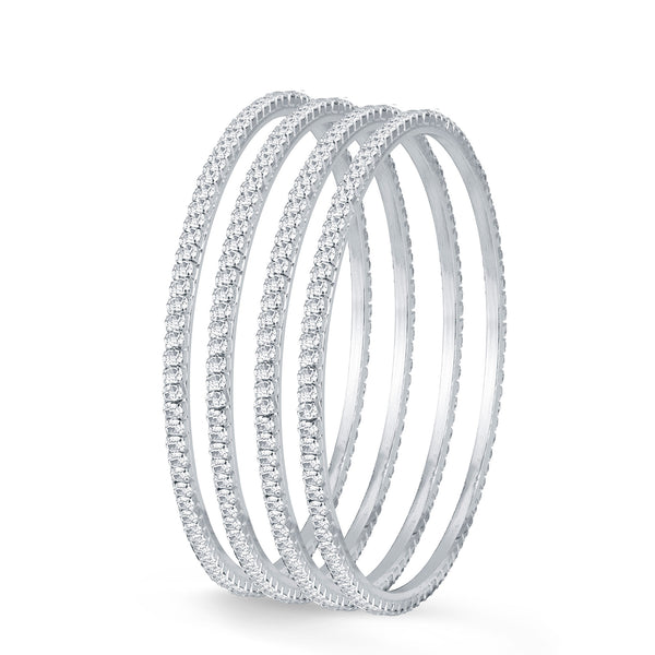Sukkhi Delightful Rhodium Plated Set OF 4 Australian Diamond Single Line Bangle
