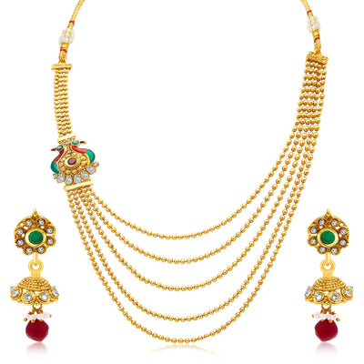 Sukkhi Bewitching Peacock Five String Gold Plated AD Necklace Set For Women