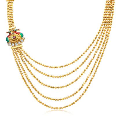Sukkhi Bewitching Peacock Five String Gold Plated AD Necklace Set For Women-1