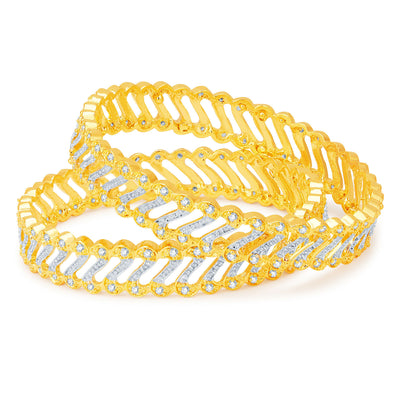 Sukkhi Glorious Gold and Rhodium Plated CZ Bangles-1